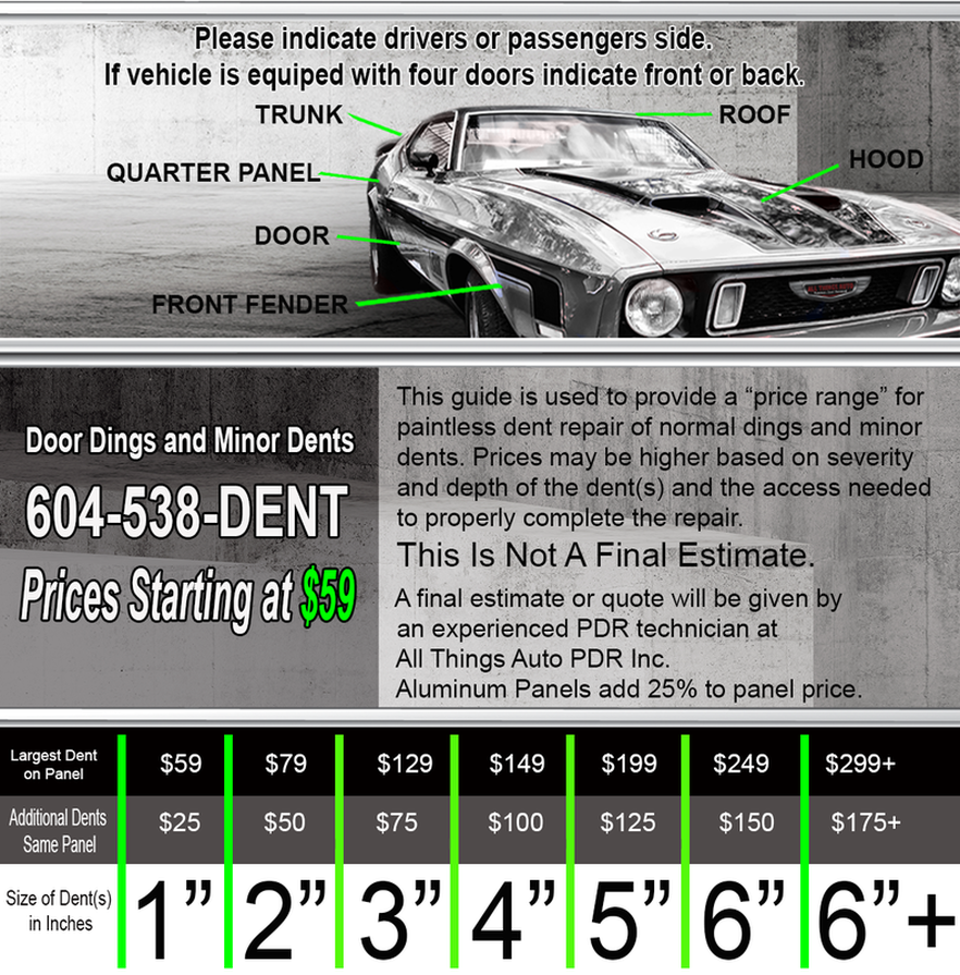 General Price Guide for Paintless Dent Repair (PDR)